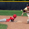"""Anders Hill of Fairview gets back to second before the ball gets to Jeff Manders of Monarch.<br /> For a photo gallery of the game, go to  <a href=""""http://www.dailycamera.com"""">http://www.dailycamera.com</a>.<br /> Cliff Grassmick / July 16, 2011"""