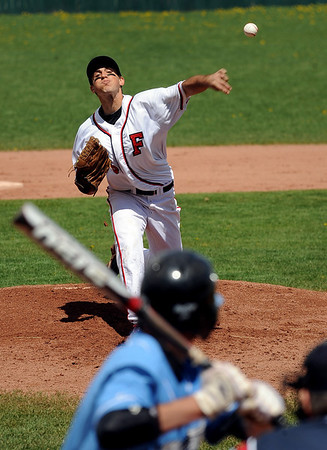 "Fairview pitcher, Roby Gordon, throws to Jarren Donato of Mountain Range on Saturday.<br /> For more photos , go to  <a href=""http://www.dailycamera.com"">http://www.dailycamera.com</a><br /> Cliff Grassmick / May 1, 2010"