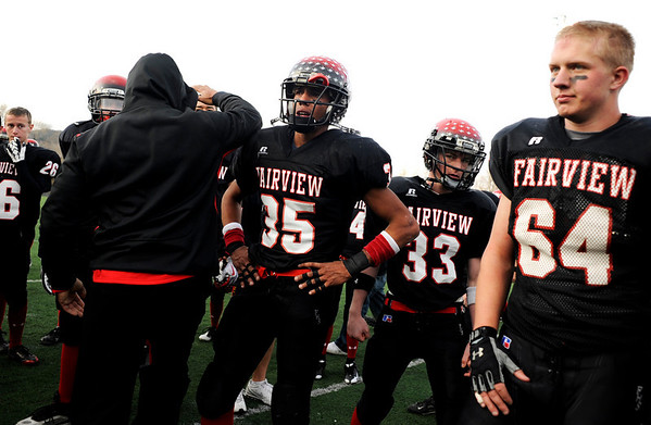 Fairview High School's Kenny Bell (35) and Jack Haveman (64) reflect after losing to Pomona High School, 42-26, during the class 5A State Semifinals at Recht Field in Boulder, Saturday, Nov. 28, 2009. <br /> <br /> KASIA BROUSSALIAN /THE CAMERA