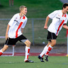 "Fairview High School's Jack Mayfield, left, and Shane O'Neill celebrate after Mayfield's goal on Friday, Sept. 1, during a game against Arapahoe High School at Fairview. Fairview defeated Arapahoe 2-1. For more photos of the game go to  <a href=""http://www.dailycamera.com"">http://www.dailycamera.com</a><br /> Jeremy Papasso/ Camera"