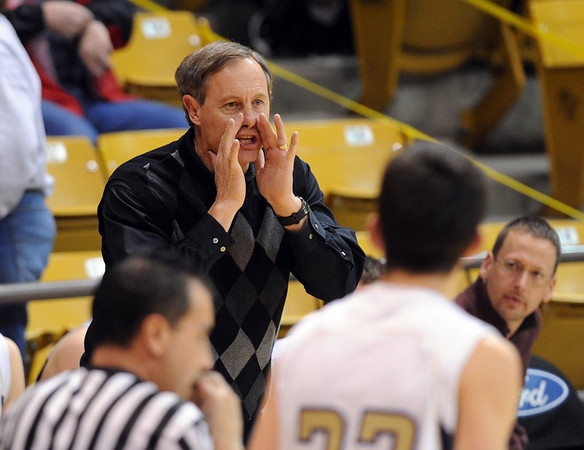 """Boulder coach Alan Schulz gives instructions during the Fairview game.<br /> For more photos of the game, go to  <a href=""""http://www.dailycamera.com"""">http://www.dailycamera.com</a>.<br /> Cliff Grassmick / February 18, 2011"""