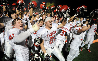 Fairview High School football players celebrate after defeating Boulder High School on Friday, Oct. 22, during a football game against Boulder High School. Fairview defeated Boulder 10-7 Jeremy Papasso/ Camera