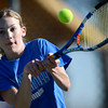 Broomfield's Katie Chrisman plays Fairview's Katie Kuosman during their tennis match at Broomfield Swim and Tennis Club in Broomfield, Colorado March 20, 2012.   CAMERA/MARK LEFFINGWELL