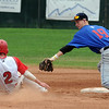 "Jeff Manders (19) of Centaurus tries to get the out on second of Jeremy Katz of Fairview.<br /> For  more photos of the game, go to  <a href=""http://www.dailycamera.com"">http://www.dailycamera.com</a>.<br /> Cliff Grassmick  / August 2, 2012"