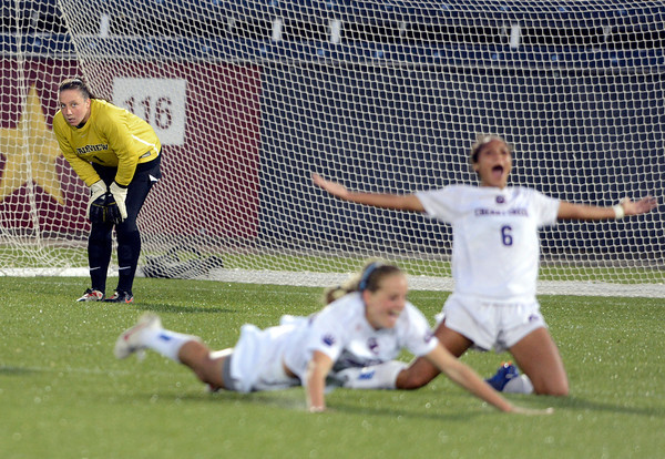 "Fairview High School Goalkeeper Rachel DuCurnou looks at Cherry Creek's Szuria Phare, (6) and Sara Feder as they celebrate a goal during the Class 5A State Championship against Cherry Creek High School on Wednesday, May 23, at Dick's Sporting Good Park in Commerce City. For more photos of the game go to  <a href=""http://www.dailycamera.com"">http://www.dailycamera.com</a><br /> Jeremy Papasso/ Camera"