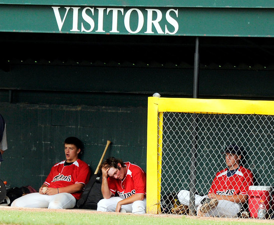 Colorado Twins pitcher Hunter Pickett, middle, shows his frustration on Friday, July 8,  during a baseball game against the Fairview Knights at Fairview High School. Fairview won 5-1.<br /> Jeremy Papasso/ Camera
