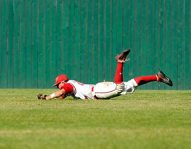 Fairview's Clay Jennette makes a diving catch in right field on Friday, July 8,  during a baseball game against the Colorado Twins at Fairview High School. Fairview won 5-1. Jeremy Papasso/ Camera