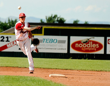 Fairview shortstop Travis Scavo makes a play at first base on Friday, July 8,  during a baseball game against the Colorado Twins at Fairview High School. Fairview won 5-1. Jeremy Papasso/ Camera
