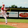 Fairview shortstop Travis Scavo makes a play at first base on Friday, July 8,  during a baseball game against the Colorado Twins at Fairview High School. Fairview won 5-1.<br /> Jeremy Papasso/ Camera