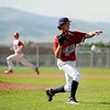 Colorado Twins pitcher Hunter Pickett makes a play at first base on Friday, July 8,  during a baseball game against the Fairview Knights at Fairview High School. Fairview won 5-1.<br /> Jeremy Papasso/ Camera