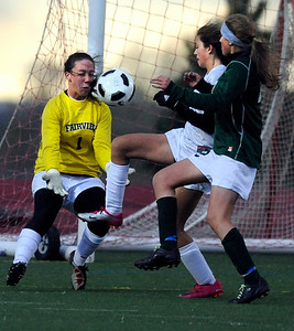 Fairview High School goalkeeper Rachel DeCurnou makes a save on Friday, April 29, during a soccer game against Fossil Ridge High School at Fairview. Jeremy Papasso/ Camera