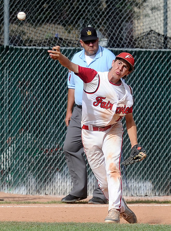"""Fairview's Ryan Madden throws the ball to make an out at first base during a Legion A game against the Gene Taylor's on Friday, Aug. 3, at Scott Carpenter Park in Boulder. For more photos of the game go to  <a href=""""http://www.dailycamera.com"""">http://www.dailycamera.com</a><br /> Jeremy Papasso/ Camera"""