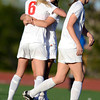 """Fairview High School's Savannah Beetcher, No 6., hugs teammate Daphnee Morency after a Fairview goal during a soccer game against Grand Junction High School on Wednesday, May 9, at Fairview in Boulder. For more photos of the game go to  <a href=""""http://www.dailycamera.com"""">http://www.dailycamera.com</a><br /> Jeremy Papasso/ Boulder Daily Camera"""