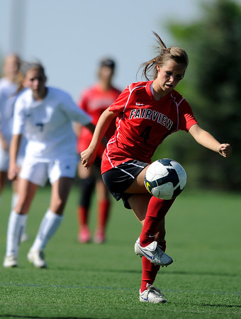 "Fairview High School's Olivia Fear dribbles the ball upfield during a game against Heritage High School on Tuesday, May 15, at Shea Stadium in Highlands Ranch. For more photos of the game go to  <a href=""http://www.dailycamera.com"">http://www.dailycamera.com</a><br /> Jeremy Papasso/ Camera"