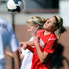"Fairview High School's Savannah Beetcher, right, goes for a header against Chandler Zitzmann during a game against Heritage High School on Tuesday, May 15, at Shea Stadium in Highlands Ranch. For more photos of the game go to  <a href=""http://www.dailycamera.com"">http://www.dailycamera.com</a><br /> Jeremy Papasso/ Camera"