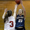 Legacy High School's Bree Paulson takes a shot over Katie Kuosman during a game against  Fairview on Tuesday, Jan. 15, at Fairview High School in Boulder. Legacy won 42-33.<br /> Jeremy Papasso/ Camera