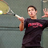 "Fairview High School junior Eli Winegardner returns the ball on Thursday, Sept. 15, during a tennis match against Monarch's Justin Nguyen at Fairview High School in Boulder. For more photos of the matches go to  <a href=""http://www.dailycamera.com"">http://www.dailycamera.com</a><br /> Jeremy Papasso/ Camera"