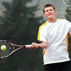 "Monarch High School's Danny Wright returns the ball on Thursday, Sept. 15, during a tennis match against Fairview's Johnny Combs at Fairview High School in Boulder. For more photos of the matches go to  <a href=""http://www.dailycamera.com"">http://www.dailycamera.com</a><br /> Jeremy Papasso/ Camera"