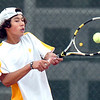 "Monarch High School junior Justin Nguyen attacks the ball on Thursday, Sept. 15, during a tennis match against Fairview's Eli Winegardner at Fairview High School in Boulder. For more photos of the matches go to  <a href=""http://www.dailycamera.com"">http://www.dailycamera.com</a><br /> Jeremy Papasso/ Camera"