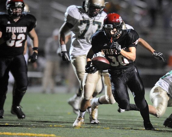 "Fairview junior Ben Meyer rushes in for a touchdown in the third quarter of the football game against Mountain Vista High School on Thursday, Sept. 16, at Recht Field in Boulder. Fairview lost 34-14.<br /> For photo gallery go to  <a href=""http://www.dailycamera.com"">http://www.dailycamera.com</a><br /> Jeremy Papasso/ Camera"