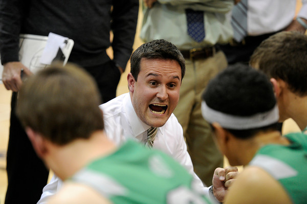 "Niwot High School head coach Travis Maron yells at his team in a time out during a game against Fairview High School on Monday, Dec. 10, at Fairview High School in Boulder. For more photos of the game go to  <a href=""http://www.dailycamera.com"">http://www.dailycamera.com</a><br /> Jeremy Papasso/ Camera"