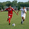 West Noble senior Cesar Najera, left, and Wawasee sophomore Reuben Camargo battle for the ball during West Noble's 9-1 win over the Warriors Saturday in Ligonier.