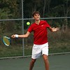 Westview No. 1 singles player Isaiah Hostetler delivers a forehand hit during his three-set victory over Fairfield Thursday in Topeka. Westview won the overall match, 5-0.