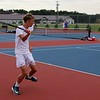 Wawasee No. 2 singles player Joey Harper goes to hit a forehand shot during his match against West Noble Thursday at West Noble High School in Ligonier.