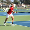 Westview senior Elijah Hostetler reaches to hit a forehand shot during his No. 2 singles match against Northridge Tuesday at Northridge High School in Middlebury.