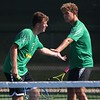 Northridge seniors Collin Seegert, left, and Evan Nay congrulate each other after a point during their No. 1 doubles match Tuesday against Westview Tuesday at Northridge High School in Middlebury.