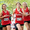 Goshen RedHawks  Rylee Weishaupt (426) and her teammates Micaela Corbin (473) and Mara Schrock (424) pace each other  during Saturday's Varsity Girls NLC Championship at Ox Bow Park in Goshen.