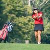 Goshen Redhawks Briza Tayagua-Delgado hits the ball towards the ninth hole during the Goshen Girls Golf Invitational Monday morning at Black Squirrel Golf Club in Goshen.