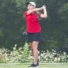 Goshen Redhawks Elizabeth Dilworth drives the ball during the Goshen Girls Golf Invitational Monday morning at Black Squirrel Golf Club in Goshen.