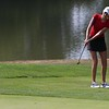 NorthWood senior Cybil Stillson chips onto the green on the third hole during the girls golf sectional Saturday at Stonehenge GC in Winona Lake. Stillson shot a 72 to win individual medalist honors.