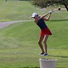 NorthWood senior Cybil Stillson starts her round during the NLC championship tournament Saturday at Bent Oak GC in Elkhart. Stillson won her fourth-straight NLC title, shooting a 73 to win by 11 shots.