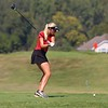 NorthWood senior Bre Goss tees off on the fourth hole during the girls golf sectional Saturday at Stonehenge GC in Winona Lake.