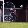 Northridge Raiders goalkeeper Alex Sheets (00) kicks the ball down pitch Thursday during the game at Todd Woodworth Field in Middlebury.