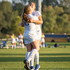 Bethany Christian Bruins midfielder Katie Sauder (4) celebrates after scoring a goal with her teammate defender Mariah Stoltzfus (10) during Tuesdays game at Elkhart Christian Academy in Elkhart.
