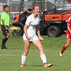 Northridge sophomore Morgan Cross reacts to scoring a goal against Goshen Saturday at Goshen High School. Cross' goal would be the lone tally in a 1-0 win for the Raiders.