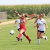 Westview's Karly Miller (19) takes possession of the ball against Wawasee at Westview High School in Topeka.