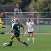 GREG KEIM | THE GOSHEN NEWS<br /> Junior Sage Schnell dribbles the ball for the Northridge Raiders in the IHSAA Class 3A girls soccer regional Saturday at Tallman-Beyrer Field in South Bend. Penn was a 4-0 winner.