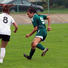 GREG KEIM | THE GOSHEN NEWS<br /> Junior Mikayla Smith of the Northridge Raiders defends Penn junior Allison Lankowicz in the IHSAA Class 3A girls soccer regional Saturday at Tallman-Beyrer Field in South Bend. Penn was a 4-0 winner.