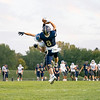 Fairfield Falcons wide receiver Braedon Helms (8) completes a catch for a touchdown during Friday's game at Fairfield High School Jr./Sr. High School in Goshen.