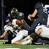 Northridge Raiders senior Carter Bach (88) forces a fumble against Lio Lions running back  Max Loeffler (12) during Friday's game at Northridge High School in Middlebury.