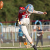 Lakeland freshman Carson Mickem (11) punts the ball during Friday's game at Lakeland High School in LaGrange.