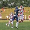Goshen junior Noah Alford intercepts a ball intended for Fairfield senior Braedon Helms during Friday night's game in Benton.