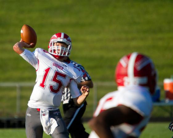 SAM HOUSEHOLDER | THE GOSHEN NEWS<br /> Goshen junior quarterback C.J. Detweiler attempts a pass to junior receiver Rummel Johnson during the game against Fairfield Friday.