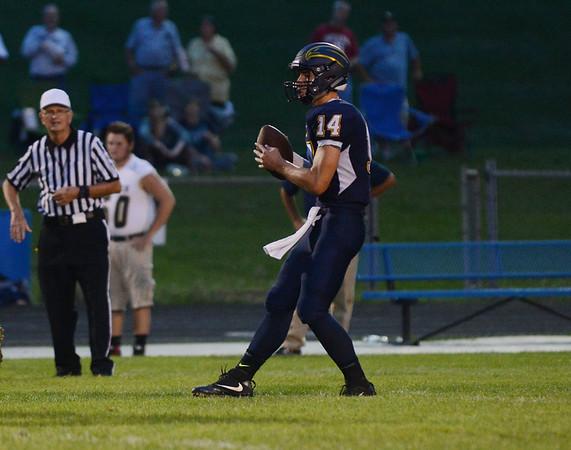 HALEY WARD   THE GOSHEN NEWS <br /> Fairfield quarterback Zac Lantz looks to pass the ball during the game against Niles Friday at Fairfield Junior-Senior High School.