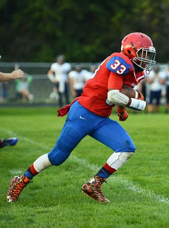 HALEY WARD | THE GOSHEN NEWS<br /> West Noble junior Spencer Shrock runs down field against Fairfield Friday at West Noble High School.