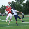 HALEY WARD | THE GOSHEN NEWS <br /> Fairfield safety Sylvanus Miller breaks up the pass to Goshen wide receiver Josuel Sanchez Friday at Goshen High School.